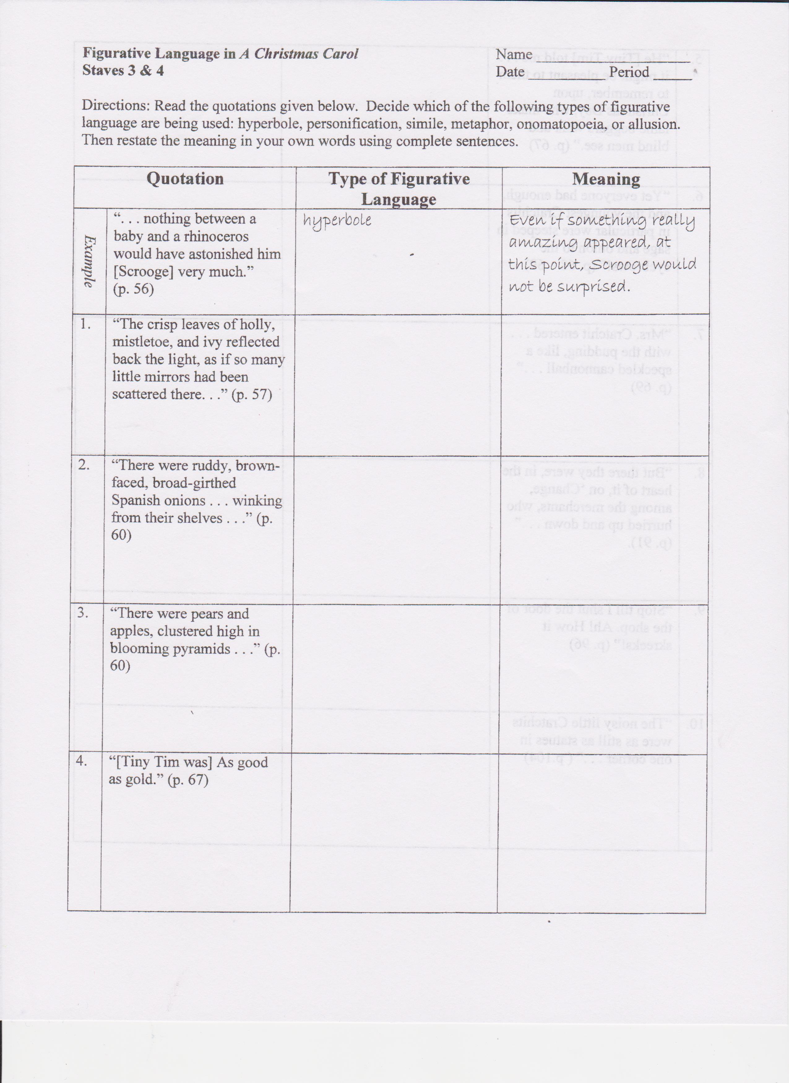Princess Penelope Figurative Language Worksheet Answers