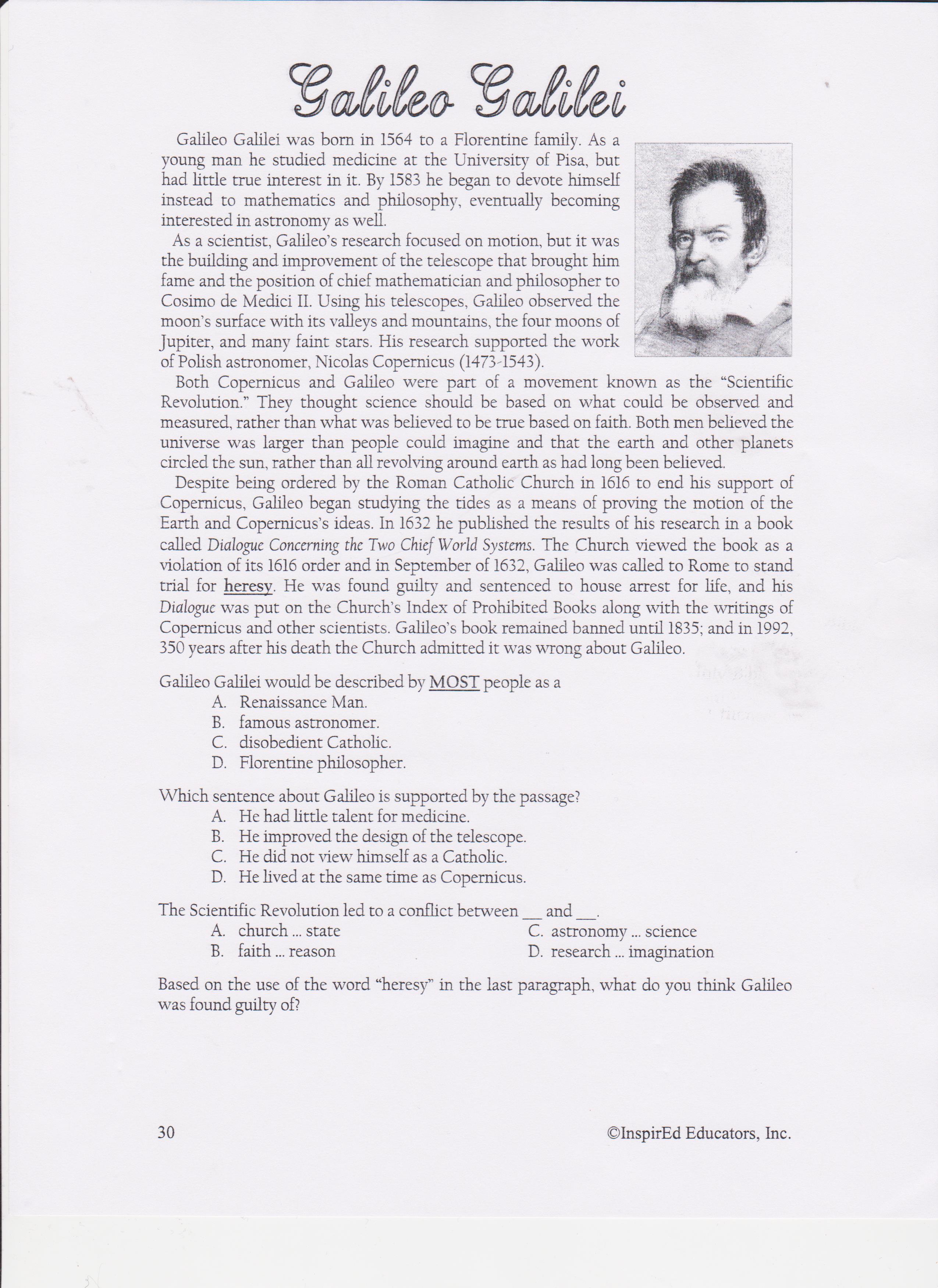 Galileo Worksheet