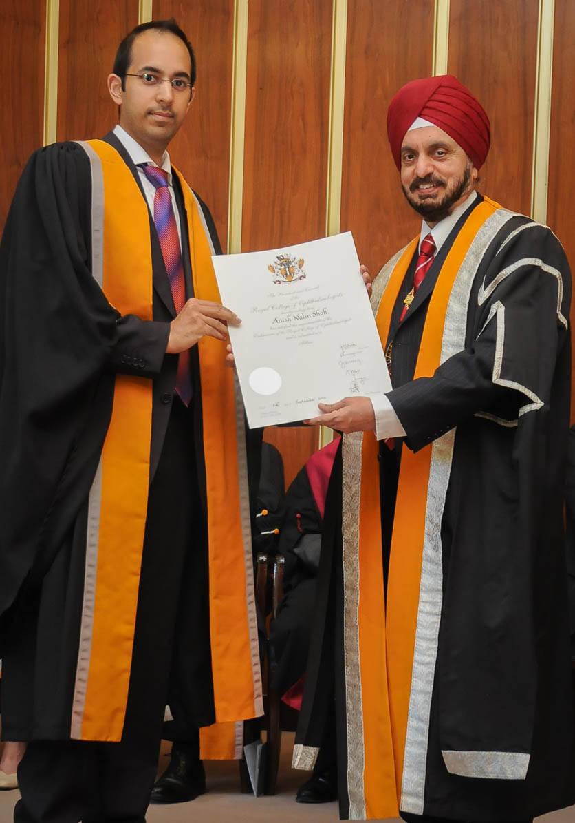 Mr Shah was awarded the Fellowship of the Royal College of Ophthalmologists by the College President, Professor Harminder Dua, in September 2012