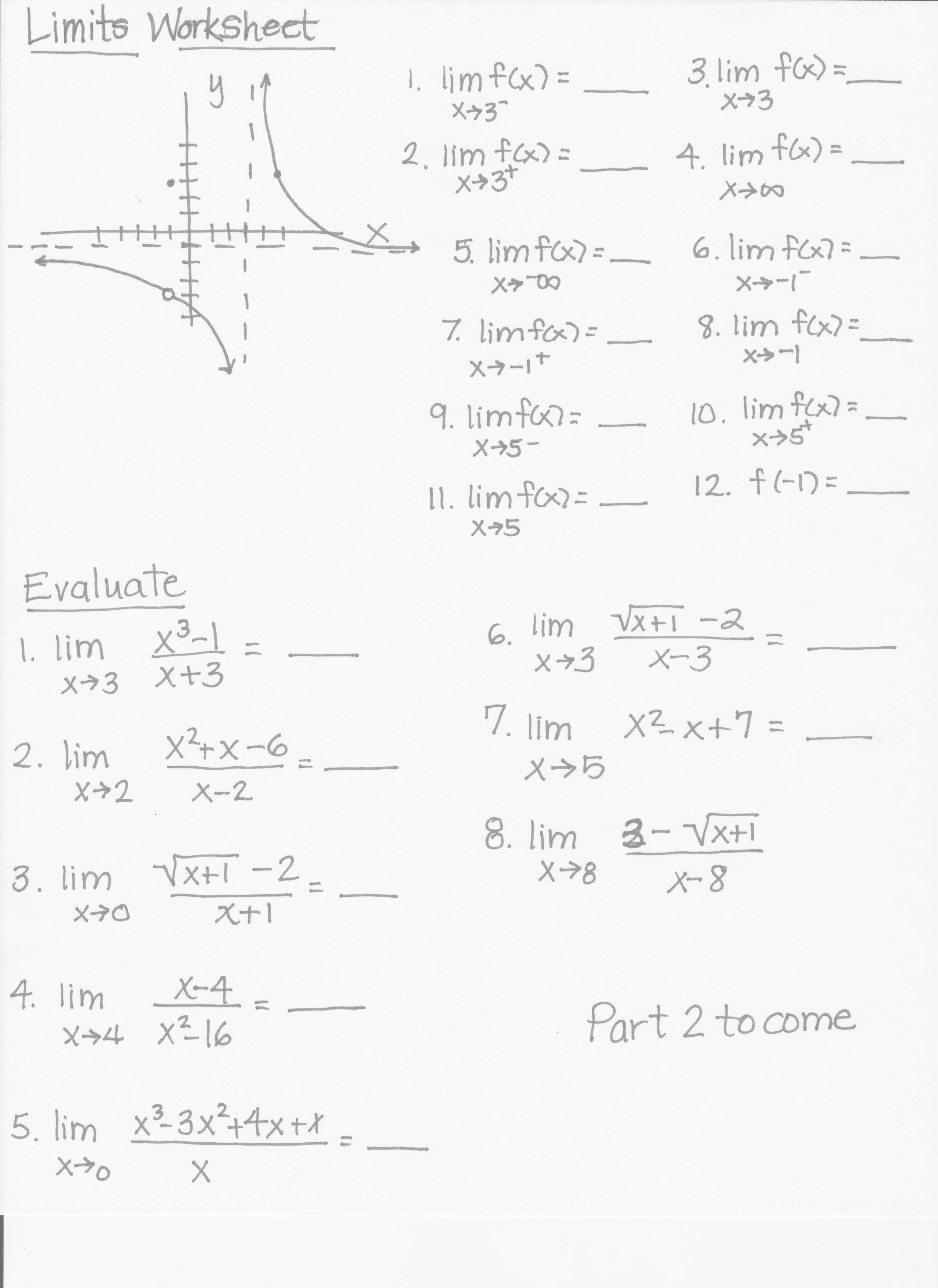 Print Precalculus Worksheet