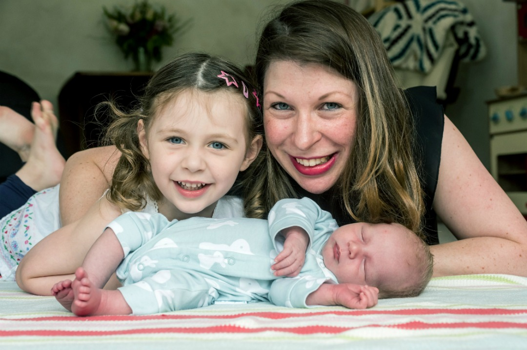 A photograph taken by Andrew Hasson Photography for the Press Association of a mother, her three year old daughter and her week old son - Work With Me - Mrs H's favourite things