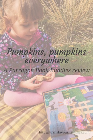 "A little girl wearing pink and navy, sits on a blanket in the garden and reads the book Pumpkins, Pumpkins Everywhere_with the post title ""Pumpkins, Pumpkins Everywhere""_A Parragon Book Buddies Review_Mrs H's favourite things"