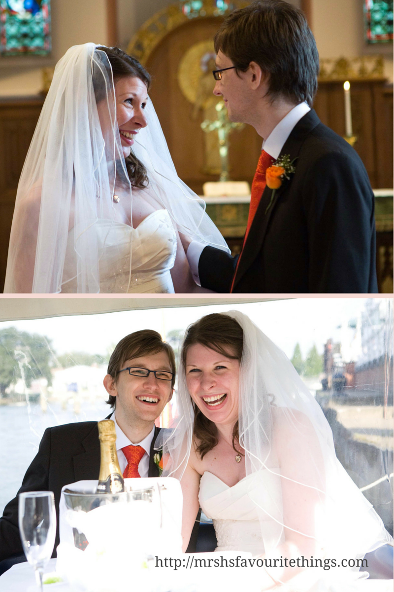 Two photographs of a man and a woman on their wedding day - dressed in a wedding dress and suit and exuding happiness - eight pictures of happiness - Mrs H's favourite things