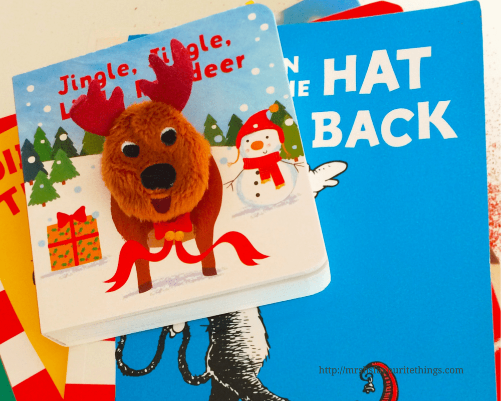 A pile of books, with the top book being Jingle, Jingle Little Reindeer, a finger puppet book by Parragon Books_Our Book Advent 2015_Mrs H's favourite things