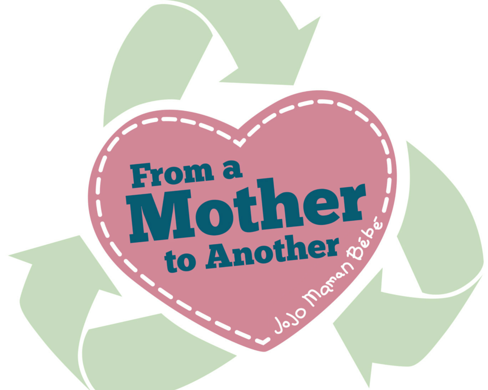 The From a Mother to Another campaign logo _ a pink heart with green recycling arrows and the words From a Mother to Another,JoJo Maman Bébé _ Mrs H's favourite things