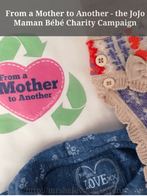 "Two little girl outfits lie on a piece of paper which includes the logo for the From a Mother to Another campaign being run by JoJo Maman Bébé - also contains the title ""From a Mother to Another - the JoJo Maman Bébé Charity Campaign""_Mrs H's favourite things"