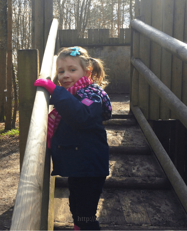 A photograph of a young girl dressed in winter gear walking up a sloped staircase on a wooden fort in the middle of the Enchanted Forest at Groombridge Place - A perfect Mother's Day - Mrs H's favourite things