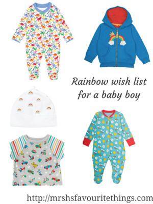 "A collection of clothing for a new born baby boy featuring rainbows or beautiful bright rainbow colours _ includes clothes from Frugi, Jojo Maman Bebe and Cath Kidston - with the title ""Rainbow wish list for a baby boy"" - Mrs H's favourite things"