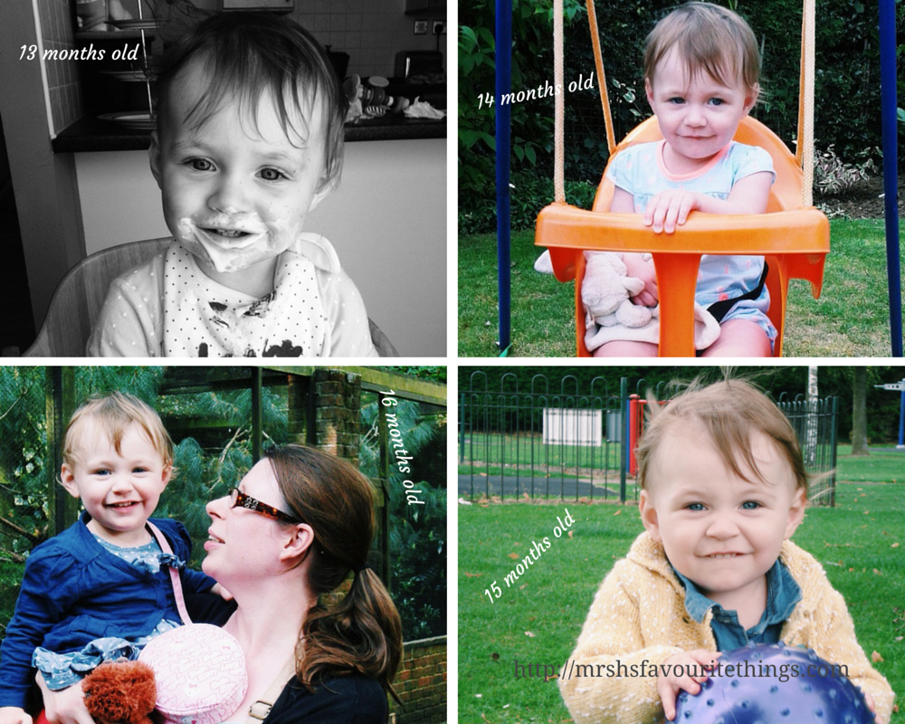 Sharing four photographs of our daughter taken between the ages of 13 months old and 16 months old - Little Miss H at three years old - Mrs H's favourite things