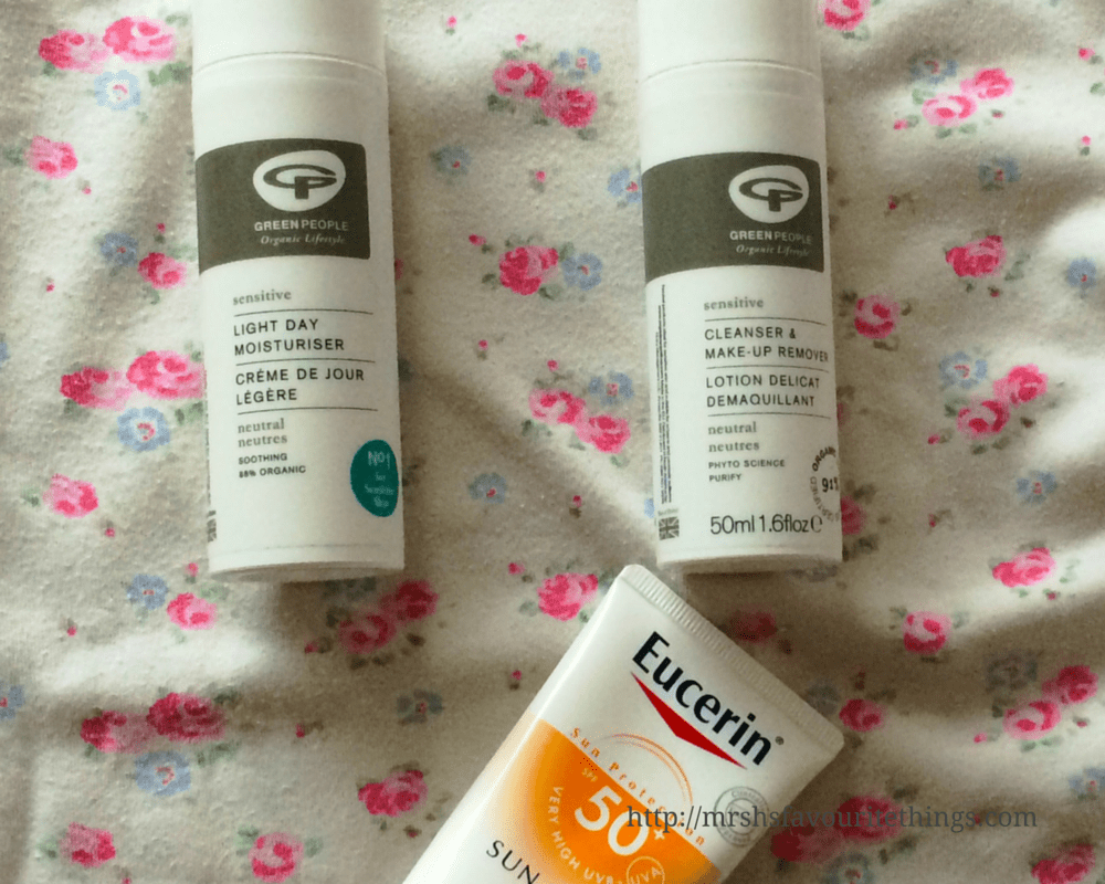 Three products from my morning routine for pregnancy skin - including Green People Cleanser and make-up remover, Green People Light Day Moisturiser and Eucerin Face SunCream SPF50 - Pregnancy skincare for sensitive skin - tips, products and routines _ Mrs H's favourite things