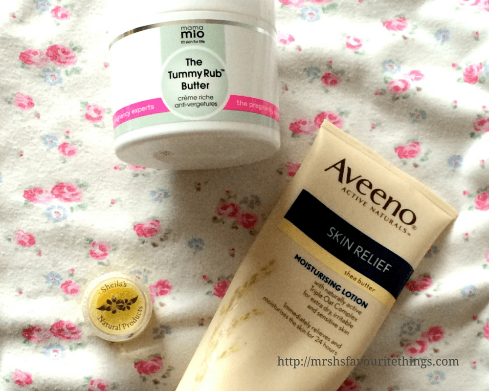 Products from my body and bump skincare routine for pregnant and sensitive skin - including Mama Mio The Tummy Rub Butter, Aveeno Skin Relief with Moisturising Lotion and Sheila's Natural Products Natural Lavender Balm - Pregnancy skincare for sensitive skin - tips, products and routines _ Mrs H's favourite things