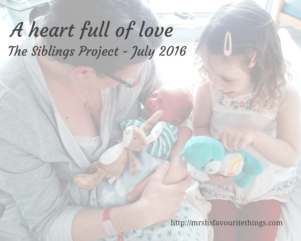 "A mum sits on a hospital bed with her three year old daughter and introduces her to her newborn baby brother - with the title ""A heart full of love - The Siblings Project - July 2016"" - Mrs H's favourite things"