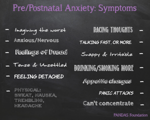 A black chalkboard featuring the symptoms to pre/postnatal anxiety - perinatalanxietychalk-300x240 - Perinatal mental health #PNDAW16 - It's okay not to be okay - Mrs H's favourite things