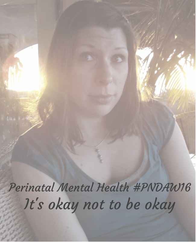 """A faded photograph of a young woman looking wistful as the sun sets in a tropical setting behind her - Includes the title """"Perinatal mental health #PNDAW16 - It's okay not to be okay"""" - Mrs H's favourite things"""