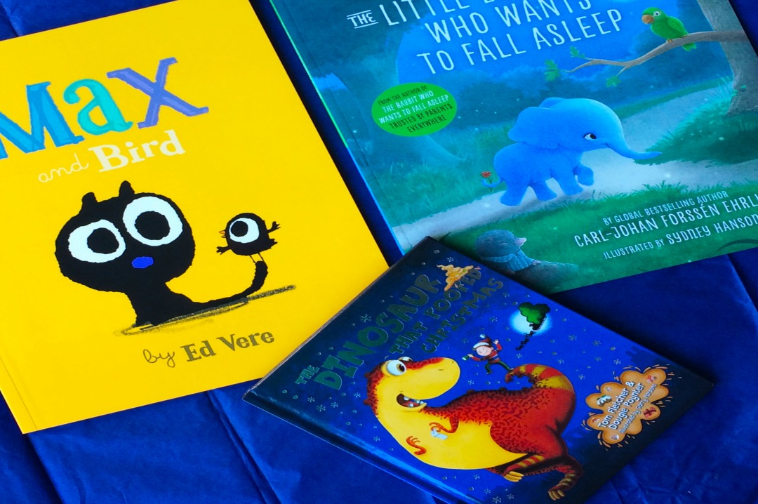 A photograph of the front covers of three books from Penguin Random House Children's Books including Max and Bird by Ed Vere, The Dinosaur that Pooped Christmas and The Little Elephant who wants to fall asleep - Stories for Life - the perfect Christmas gift_Mrs H's favourite things