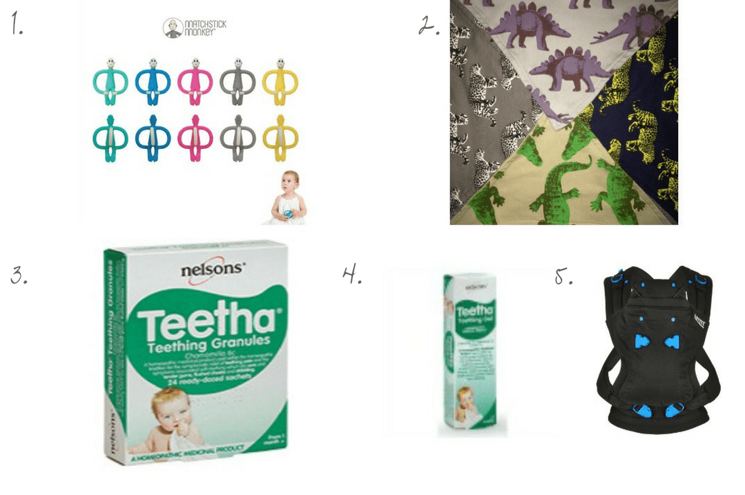 A photo collage of my top 5 teething products including Matchstick Monkey, Nelsons Teetha Teething Granules and Teething Gel, Lamb & Bear Dribble Scarves and We Made Me Pao Carrier My top 5 teething products _ Mrs H's favourite things