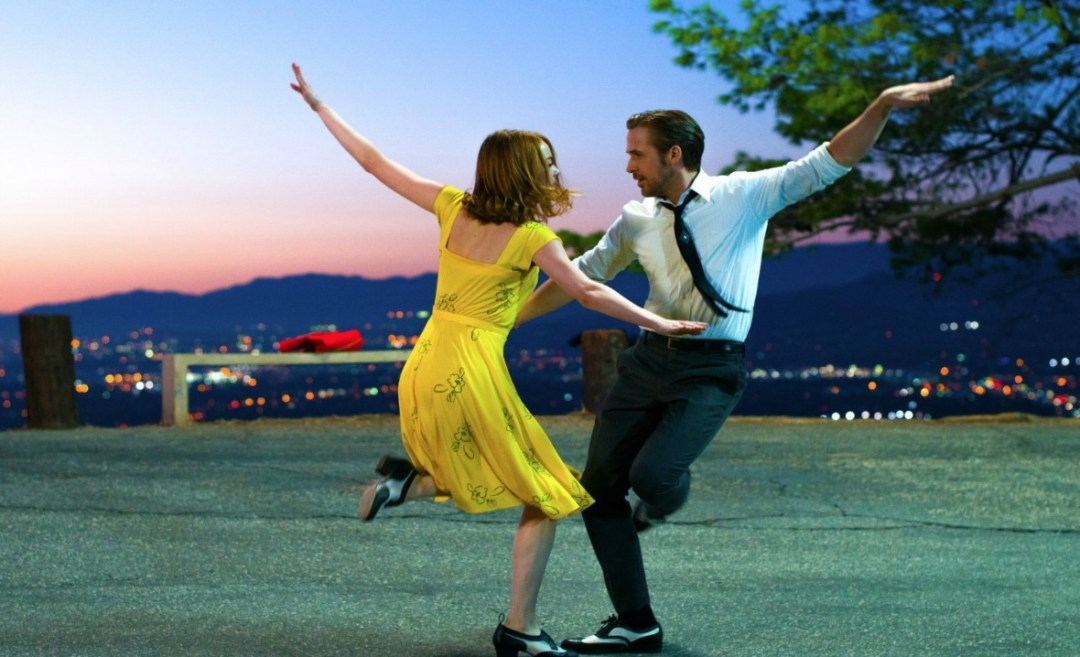 A still from the movie La La Land. This photograph is from a scene of Emma Stone and Ryan Gosling dancing in the musical movie La La Land - In love with La La Land - Mrs H's favourite things