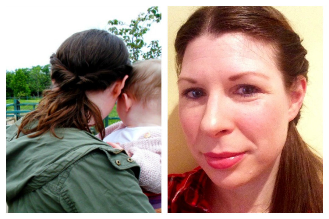 Hair Care Tips For Busy Mums - a photograph collage of a woman wearing her hair in a twisted side ponytail - one photograph of the front of the hairstyle and the other of the back of the hairstyle - Hair Care Tips for Busy Mums - Mrs H's favourite things