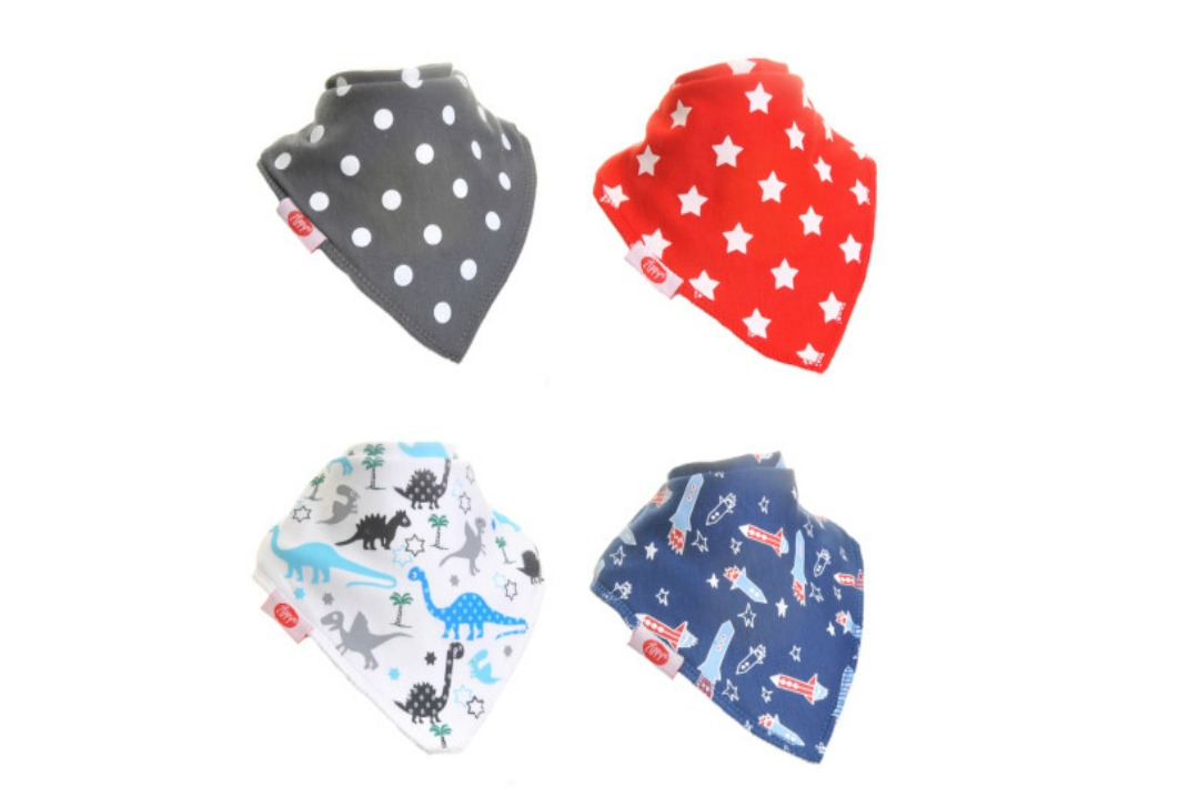 A brand photograph of four colourful and fun dribble bandanas from Zippy - Wicked Uncle toy gift service website review - finding the perfect present for a baby - Mrs H's favourite things