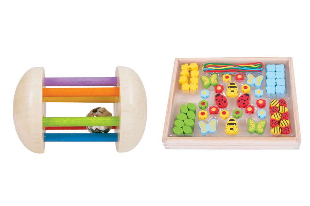 A photograph of Bigjigs wooden Rainbow Rattle and Garden Bead Box - Bigjigs Play Patrol Rainbow Rattle and Garden Bead Box