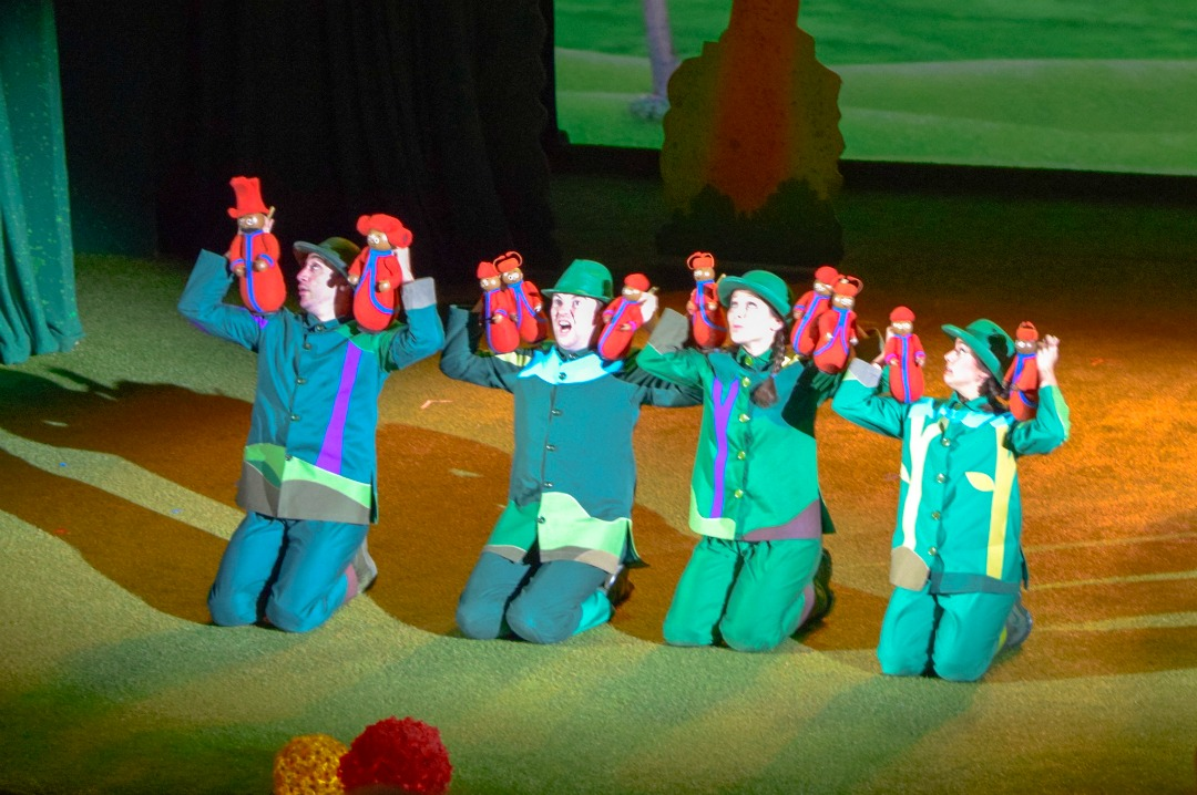 "A photograph of the puppeteers from In the Night Garden Live moving the Pontipines around the stage - the photograph is from the post ""In The Night Garden Live - a review"" by Mrs H's favourite things"