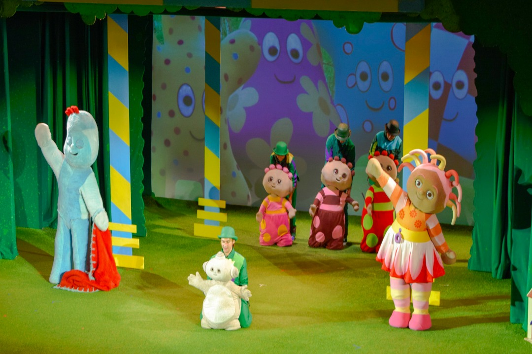 "A photograph of the gazebo song and dance with all the characters from In the Night Garden Live including Upsy Daisy, Igglepiggle, the Tombliboos and Makka Pakka - a photograph from the post ""In the Night Garden Live - a review"" - Mrs H's favourite things"