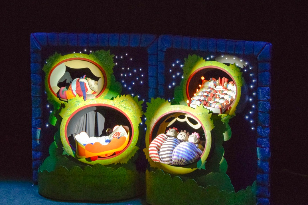 "A photograph of the characters from In the Night Garden Live being put to bed towards the end of the show - the photograph is from the post ""In The Night Garden Live - a review"" by Mrs H's favourite things"