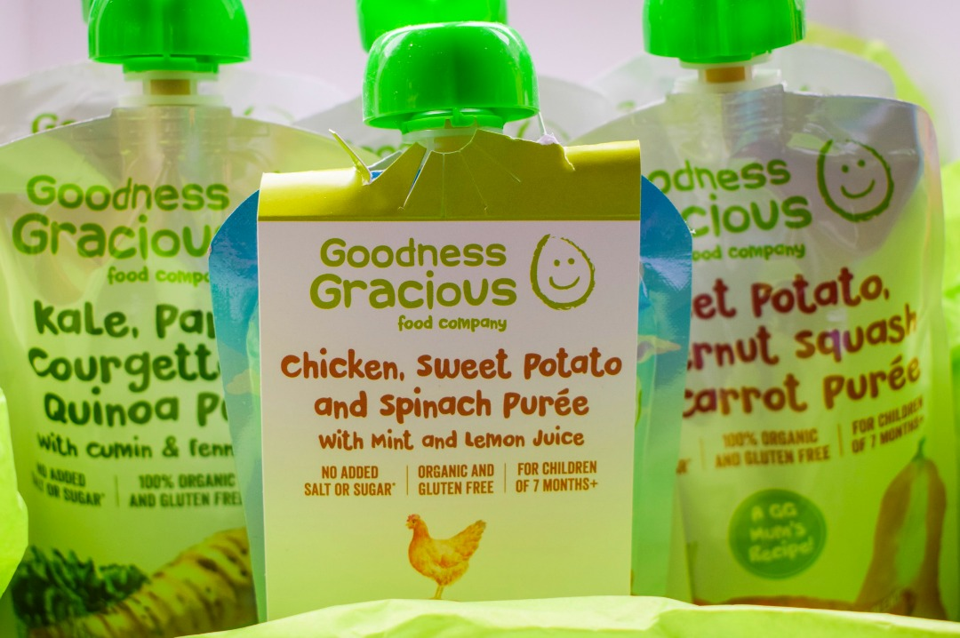 A photograph of three pouches of ayurveda inspired deliciously balanced organic purées from Goodness Gracious Food Company which are ideal to give to a Weaning baby - Weaning wins with organic purées from Goodness Gracious Food Company - Mrs H's favourite things