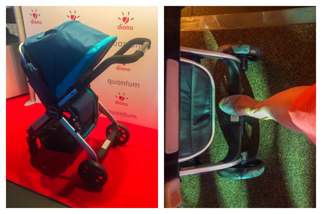A collage of photographs -the photograph on the left is of the Diono Quantum travel system on the red carpet at the launch of the Quantum and the photo graph on the right is of a ladies foot on the centralised brake of the Diono Quantum travel system - #AdventureReady with the Diono Quantum travel system - the launch and first impressions - Mrs H's favourite things