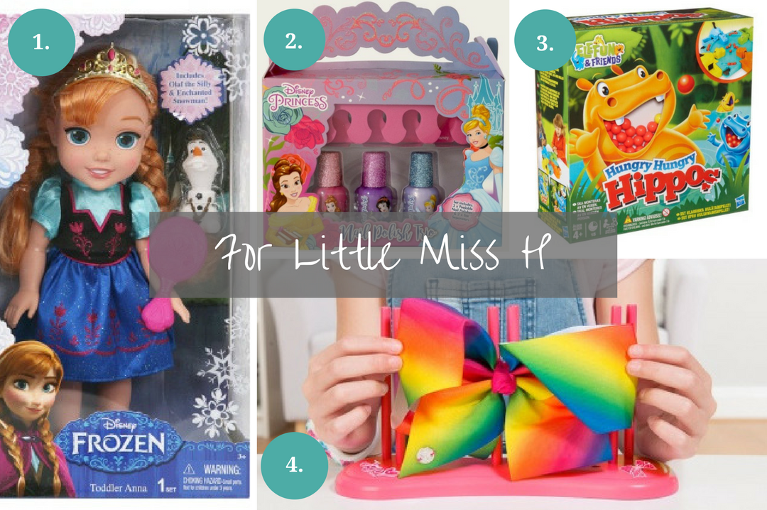 A photograph collage of four last minute Christmas gifts that you can buy for a primary school age girl from B&M Stores - they include a Princess Anna toddler doll and a JoJo Bow Maker - Last minute Christmas gifts from B&M stores - Mrs H's favourite things