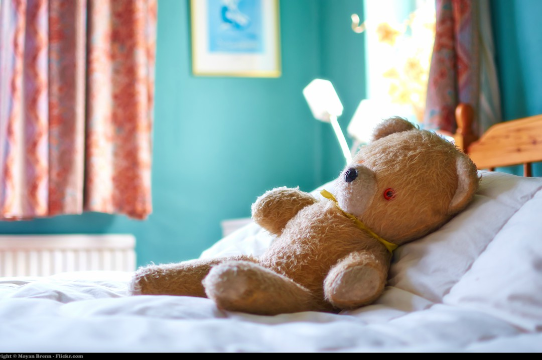 A photograph of a stuffed teddy bear sitting on a bed in a children's bedroom - A Zoo Trip Bedroom To Make The Kids Roar - Mrs H's favourite things