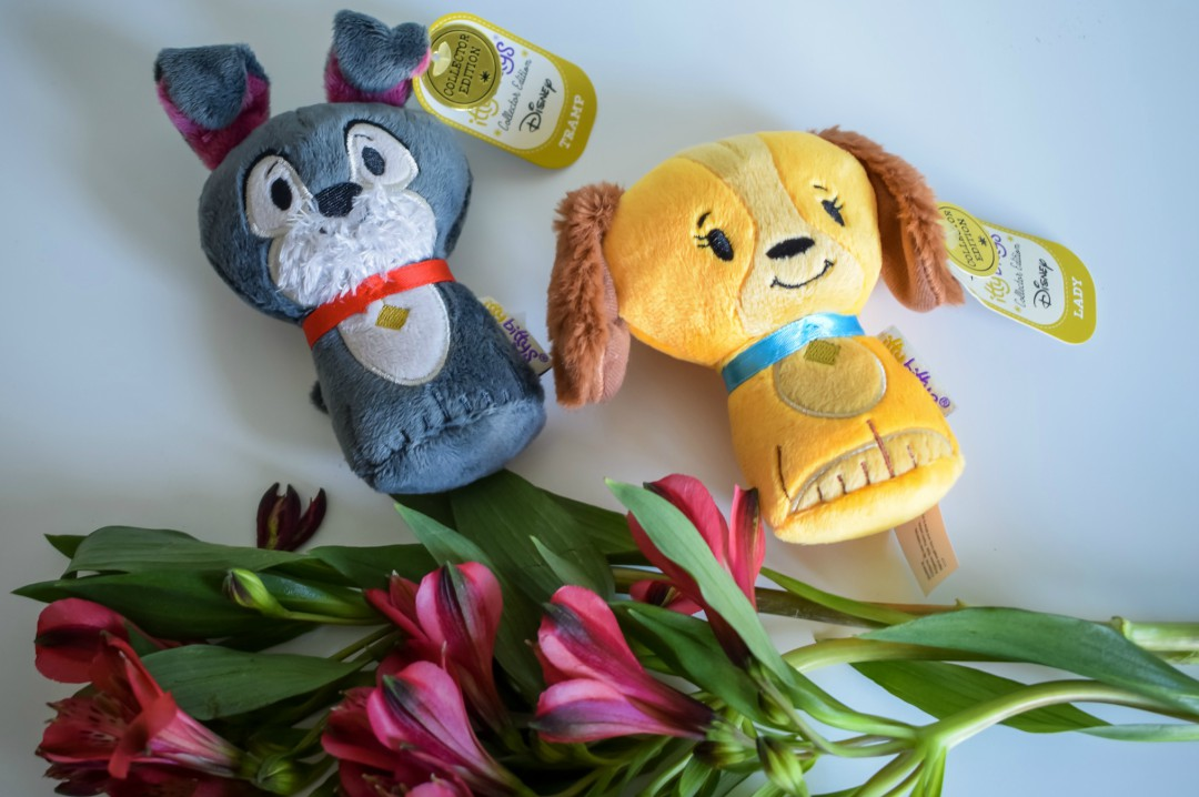 A photograph of Hallmark Lady and the Tramp Itty Bitty's and a bunch of flowers - Mother's Day Gift List - Treats for the Mother in your Life - Mrs H's favourite things