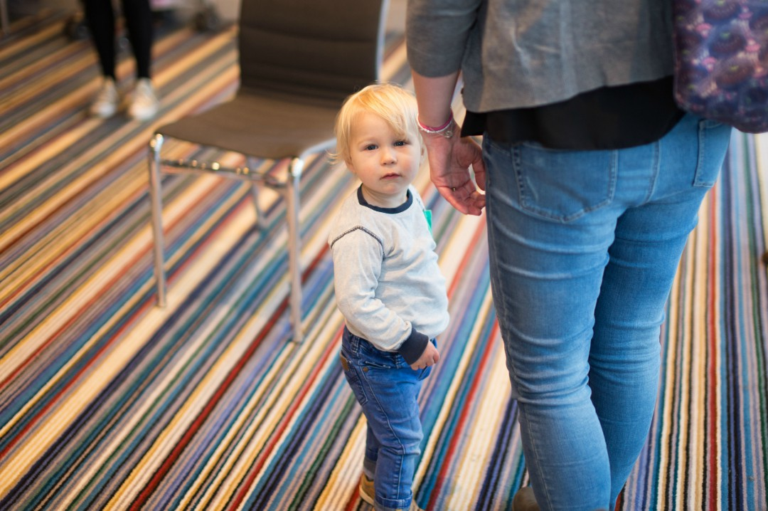 A photograph of a little boy and his mummy at an event with Baby Dove learning about baby swimming skin care - Baby Swimming Skin Care with Baby Dove - Mrs H's favourite things
