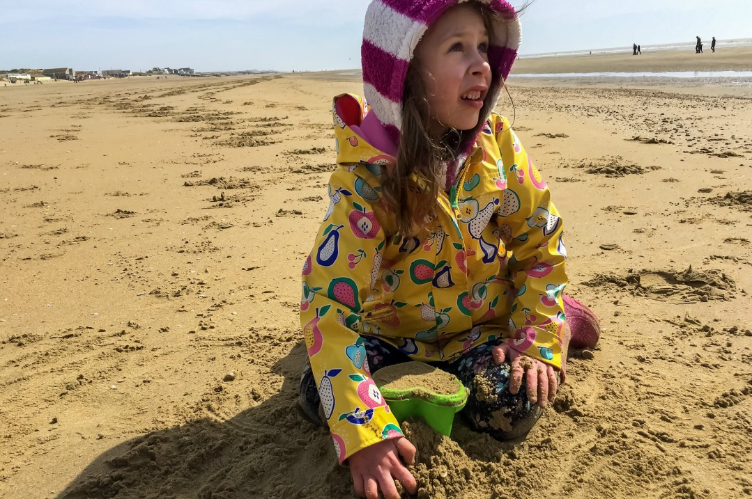 A little girl building sand castles on the beach on Camber Sands - Our Weekend Happy - Pottering, A Day at the Beach & Seeing Auntie B