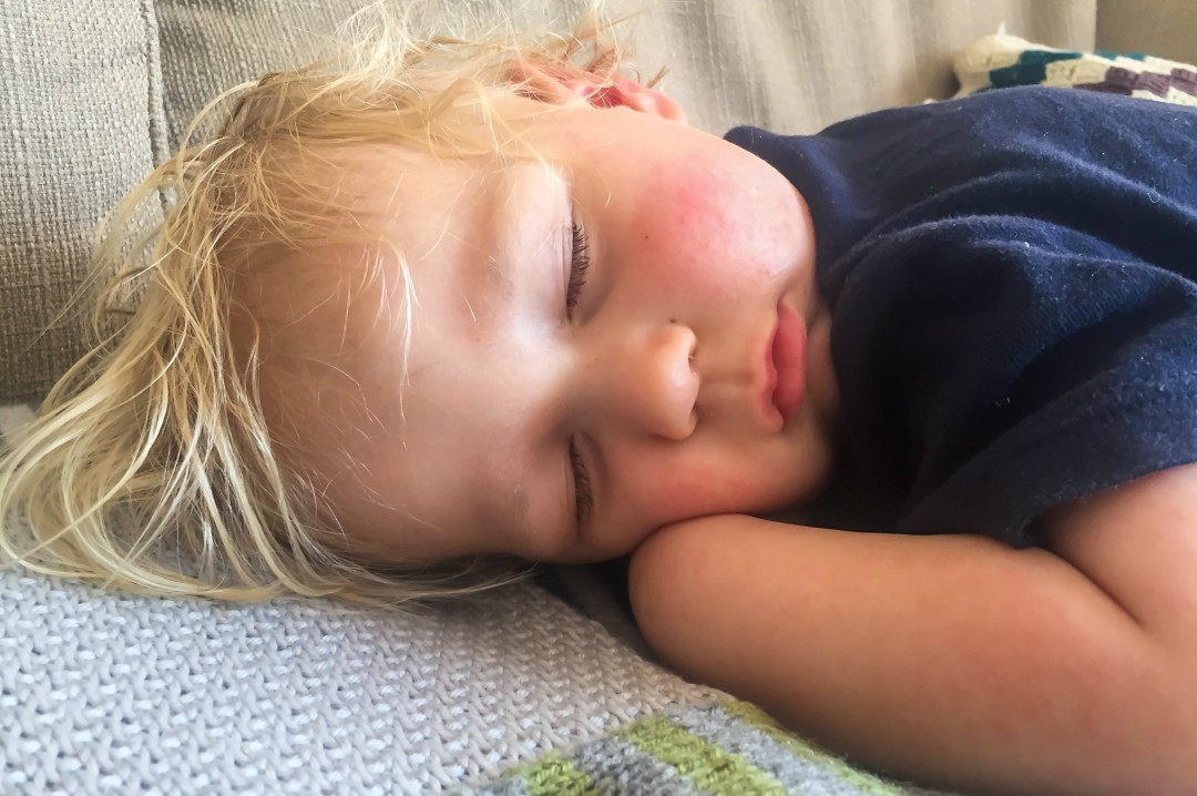 A photograph of a 22 month old boy napping on the sofa - Our Weekend Happy 13 - Country Parks, Woodland Walks & Parties - Mrs H's favourite things