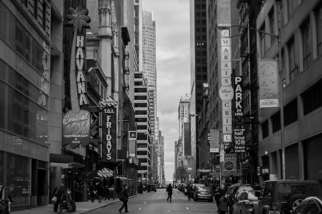 A black and white photograph of a street in New York - Three Things You Need To Find When You Move To A New Place - Mrs H's favourite things