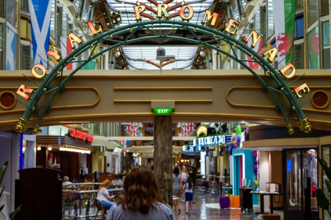 A photograph of the royal Promenade on the Royal Caribbean cruise ship Indepencence of the Seas - 10 Reasons Why A Royal Caribbean Cruise Would Make The Perfect Family Holiday - Mrs H's favourite things
