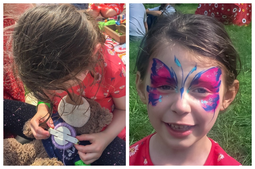Two photographs of a little girl at Elderflower Fields Festival - Our First Family Festival and Our Festival Essentials - Mrs h's favourite things