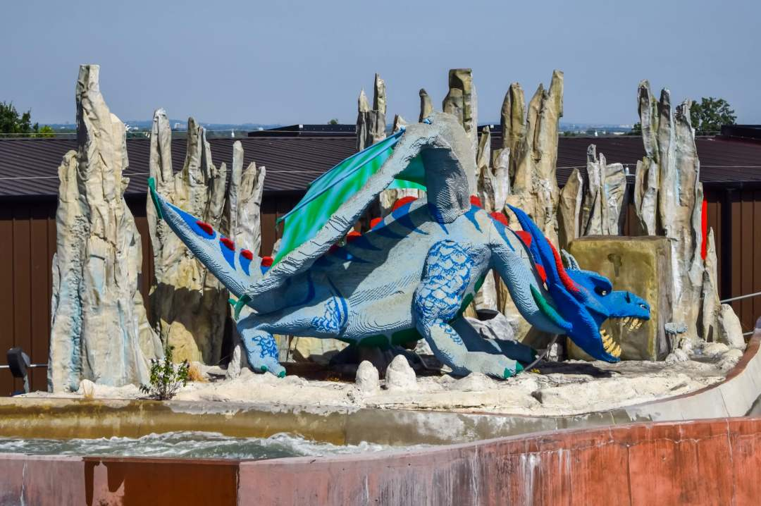 A photograph of a dragon on the Viking's Splash ride at LEGOLAND® Windsor Resort - LEGOLAND® Windsor Resort - A Review - Mrs H's favourite things