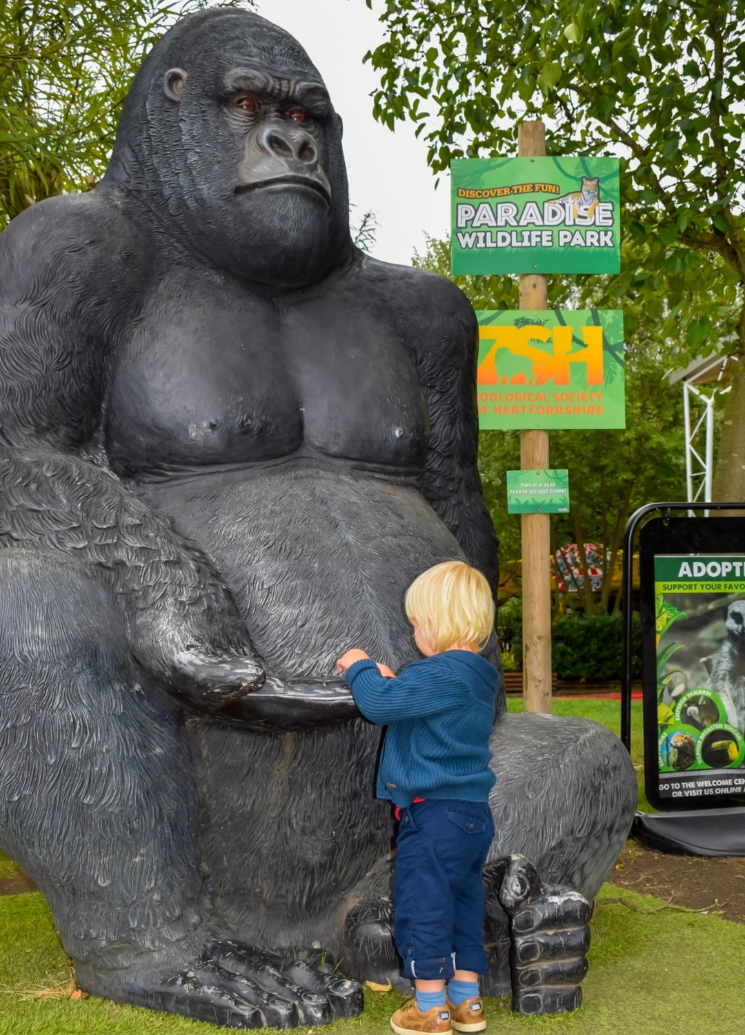 A photograph of a little boy with a statue of a gorilla at Paradise Wildlife Park - Paradise Wildlife Park - A Review - Mrs H's favourite things