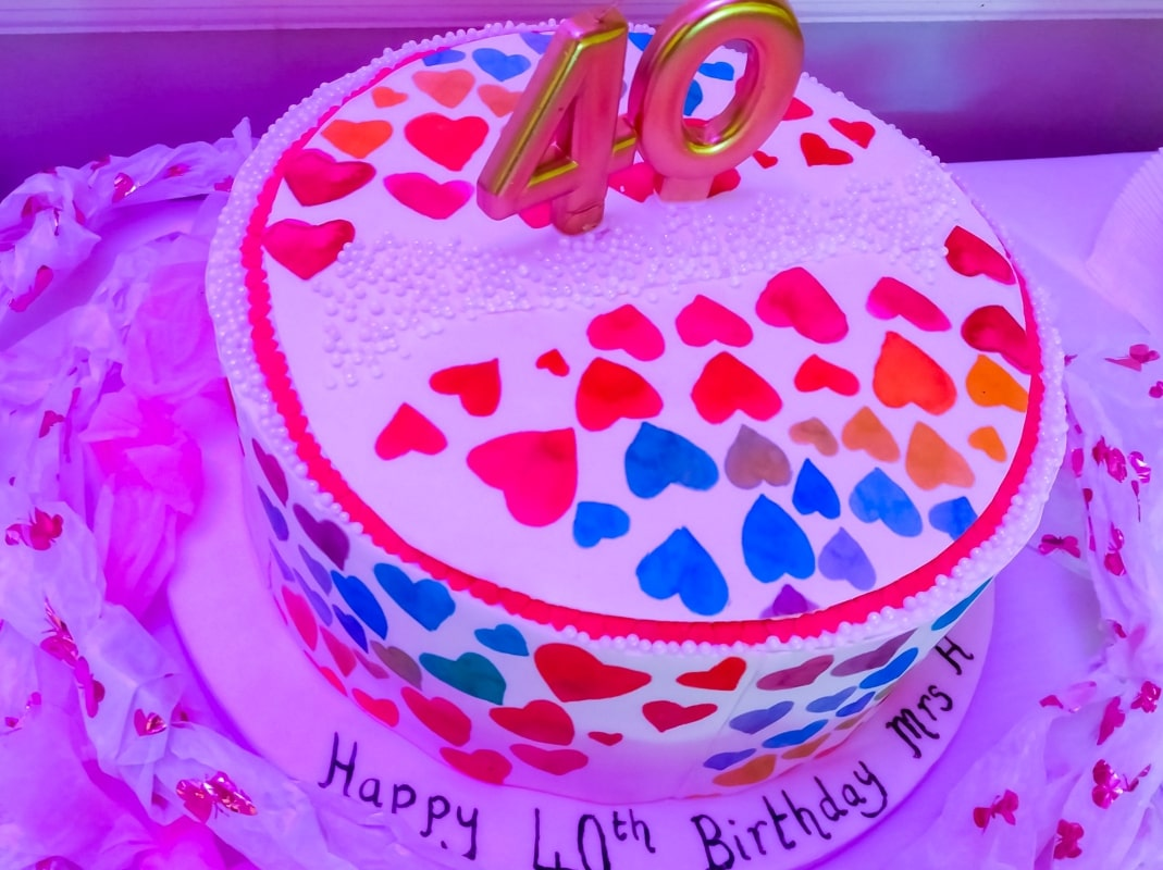 A photograph of a 40th birthday cake decorated with hearts - Finding Happiness and Chasing Rainbows - September 2018 - Mrs H's favourite things
