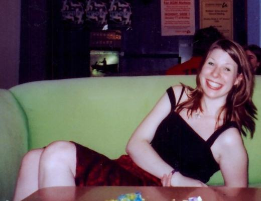 A photo of a young girl with depression smiling in her university student union - 20 years - Mrs hs favourite things
