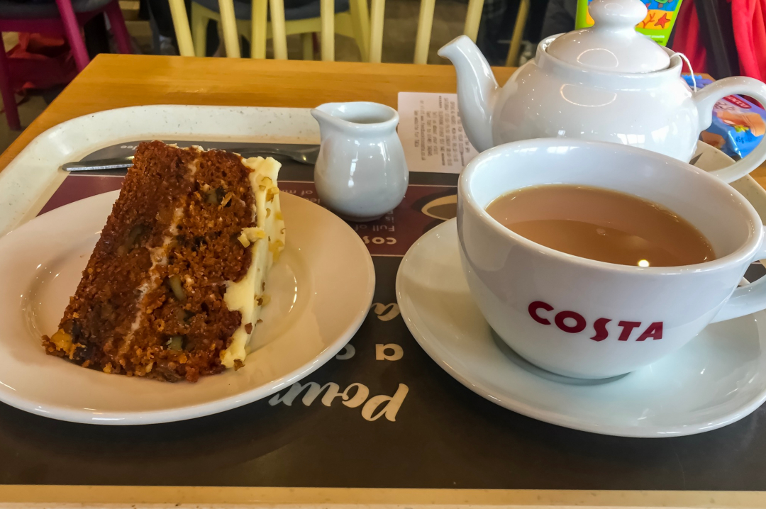 A photograph of some tea and cake - Finding Happiness and Chasing Rainbows January 2019 - Mrs H's favourite things