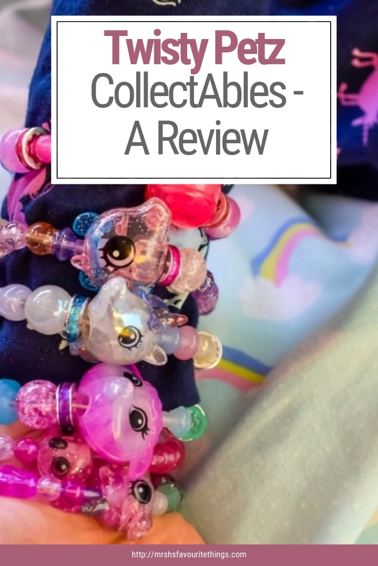 "A pinnable image with a photograph of a little girl wearing her Twisty Petz as bracelets with the text ""Twisty Petz CollectAbles - A Review"" - Twisty Petz CollectAbles From Spin Master - A Review - Mrs H's favourite things"