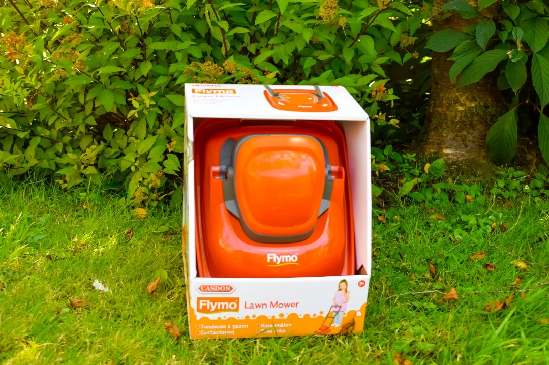 A photograph of the Casdon Flymo Lawn Mower in its box - Casdon Flymo Lawn Mower - A Review - Mrs H's favourite things