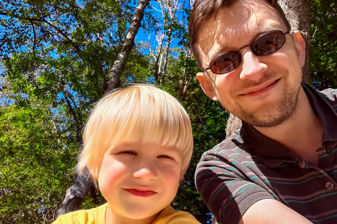 A photograph of a father and son at Into The Trees festival 2019 - Into The Trees 2019 - An Idyllic Family Festival - Mrs H's favourite things