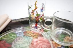 Handpainted glass from France. BLACK FLOWER BREAKFAST €75,-
