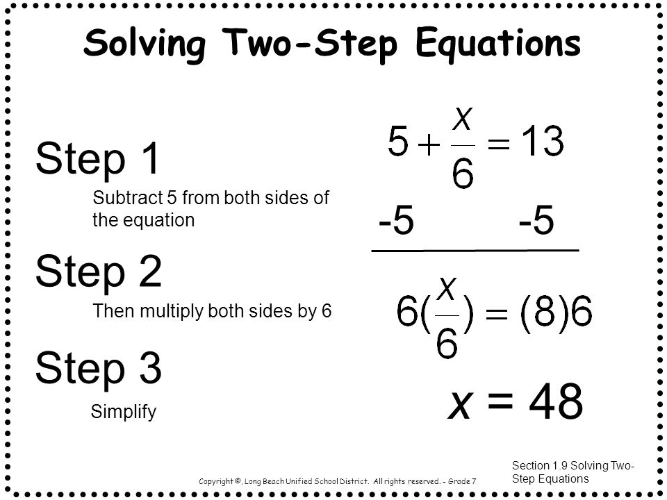 Solving Two-Step Equations – For the Love of Math