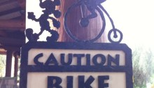 Adorable bike crossing sign at Disney's Wilderness Lodge.