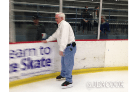 My dad made it out on the ice.